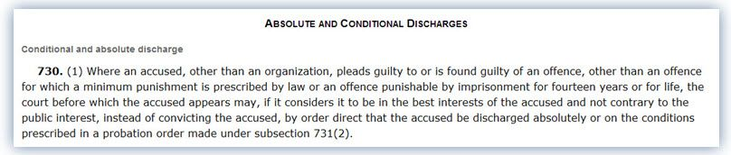 Criminal Code of Canada Sec 730 Conditional Discharge